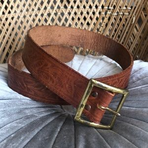 Vintage Tooled Western Steerhide Belt